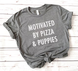 Motivated By Pizza and Puppies Relaxed Jersey Short Sleeve Tee