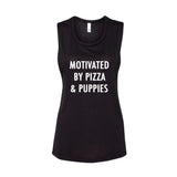 Motivated by Pizza & Puppies Flowy Muscle Tank Top