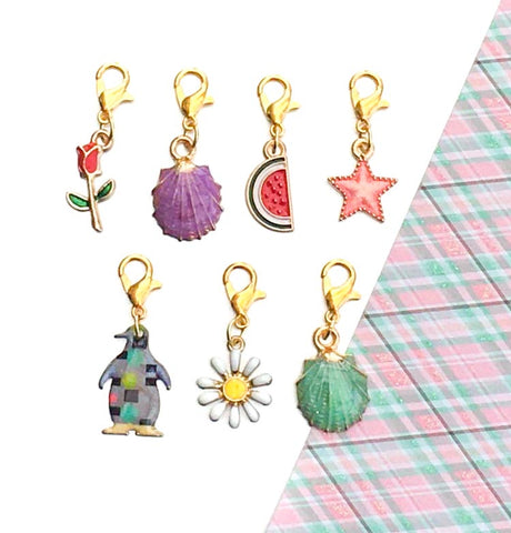 cute enamel planner charm clip gold tone metal penguin daisy flower rose shell watermelon uk cute kawaii planning accessories stitch marker