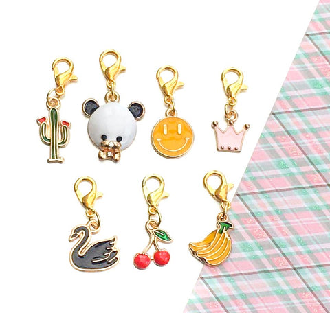 cute enamel planner charm clip gold tone metal kawaii uk planning supplies panda cherries swan cacti accessories stitch marker