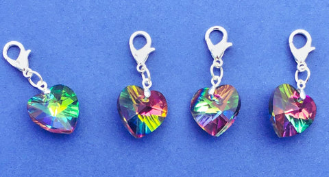 rainbow glass heart planner charm clip stitch marker uk planning charms accessories pretty clips