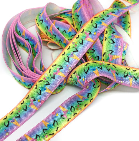 rainbow ombre unicorn head heads unicorns fold over elastic ribbon bright