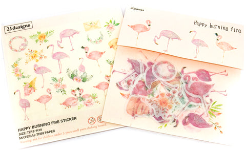 flamingo translucent sticker flake flakes stickers flamingos pack of 40