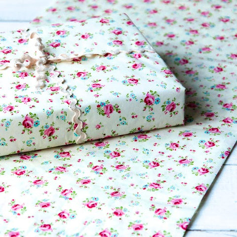 rose sprig patterned pretty tissue paper 10 sheets uk cute kawaii packaging supplies wrapping pink roses floral flowers