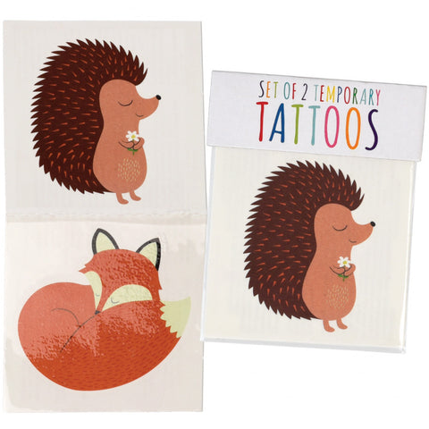 hedgehog hedgehogs and fox foxes kids temporary tattoos tattoo uk cute kawaii gift gifts party bag stocking fillers boy boys