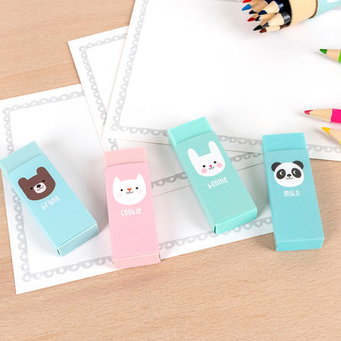 cute rex london eraser set or individual animal rubber bear bunny cat and panda erasers uk kawaii stationery