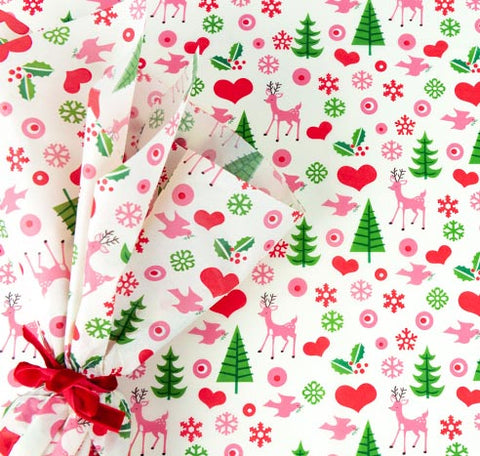 retro christmas tissue paper 1950 1950s festive vintage feel scandi deer tree green pink red uk rex london sheets tissue paper papers wrap packaging