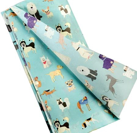2 sheets turquoise dog dogs rex london best in show tissue paper wrap packaging uk cute kawaii puppy puppies