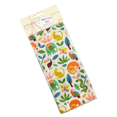 tropical jungle animals animal and plants rex london wild wonders tissue paper pack of 10 large sheets uk cute kawaii packaging paper wrapping wrap elephant toucan green orange
