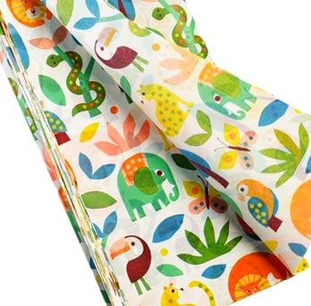 vibrant tropical jungle animals wild wonders wonder rex london tissue paper pack of 2 sheets papers wrap packaging uk cute kawaii
