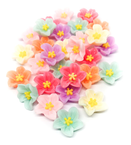 5 petalled flower resin flat back fbs flatbacks flowers petal