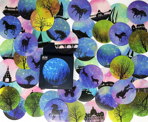 night sky silhouette sticker flakes mini box of 50 stickers