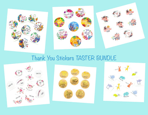 25mm round thank you thankyou sticker stickers bundle of 12 sample designs cute kawaii packaging supplies seals