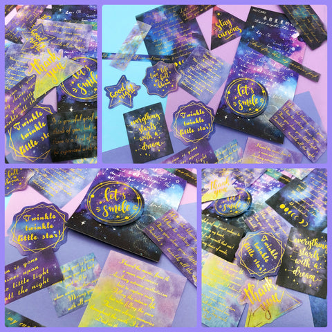 galaxy 60 large sticker flakes gold foiled cosmos constellations quotes blue purple stars outer space pack sticker uk cute kawaii stationery