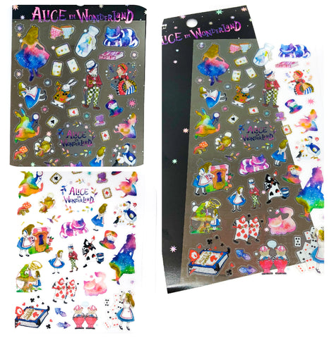 alice in wonderland flat clear plastic sticker pack vibrant rainbow stickers