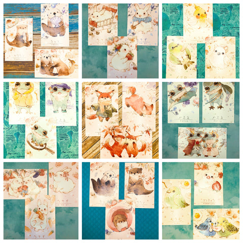 animal kawaii cute animal postcard postcards bunny rabbit otter fox bird frog stationery bundle