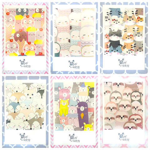 Kawaii Crowded Animals+ Individual Postcard -30 Designs