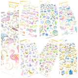 puffy crystal sticker sheet pack stickers kawaii gold foiled planner
