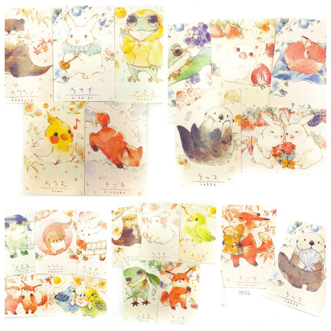 kawaii cute mini lomo postcards cards card animals rabbit frog fox otter rabbit bird stationery uk