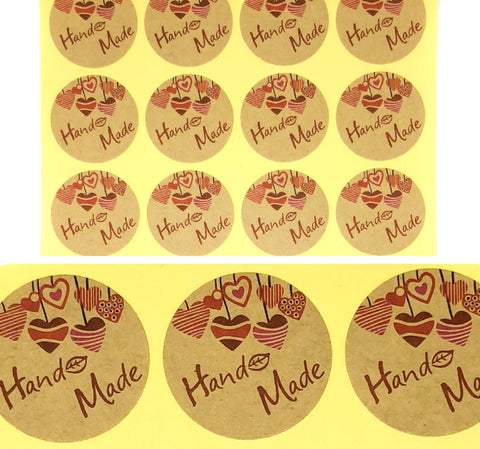 round 35mm hand made handmade kraft brown stickers