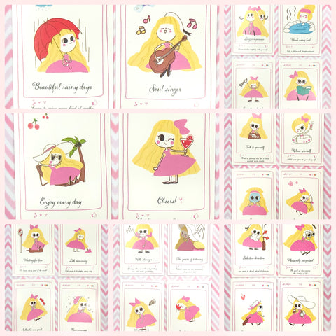 pink girl kawaii yellow hair cute girls lomo mini postcards card stationery cute