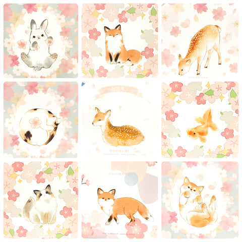 cherry blossom spring kawaii animal postcard individual postcards deer fox cat dog rabbit fish uk cute kawaii stationery bundle bundles post card