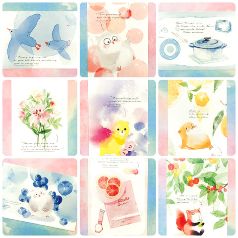 kawaii watercolour animal post card postcards cute kawaii stationery uk fox bear owl pretty cards quote quotes