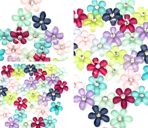 rhinestone centre flower acrylic 10mm fb flat backs flowers sparkly
