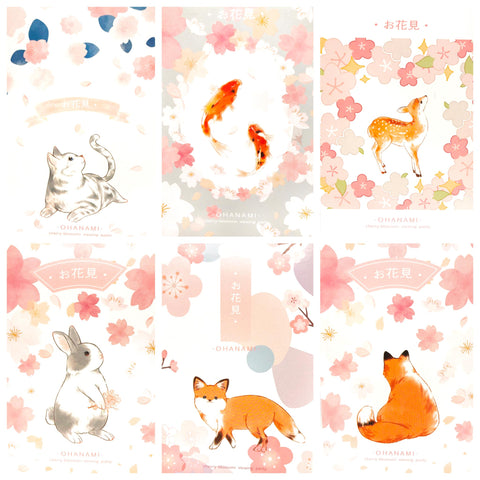 cherry blossom bundle floral flower flowers shaped postcard post card cards cute kawaii uk stationery bundles bundle animal bunny rabbit