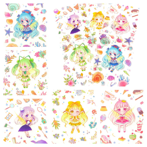 kawaii girl matte translucent sticker pack of 5 sheets cute girls manga sticker sheet uk stationery