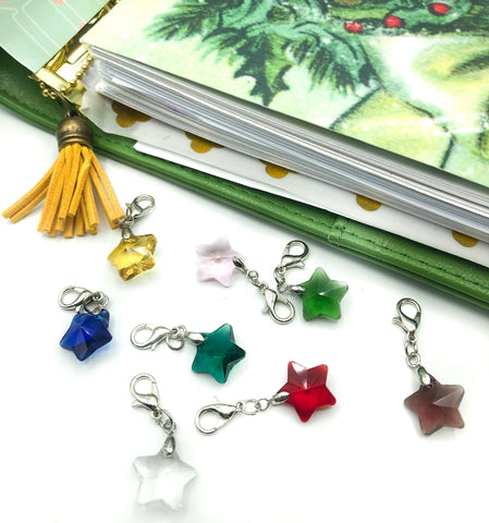 planner clip glass star clips charms charm silver tone accessories uk cute kawaii charms lobster clasp stars