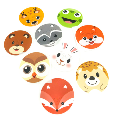38mm large round glossy animal face stickers woodland fox deer bear squirrel rabbit raccoon hedgehog uk sticker