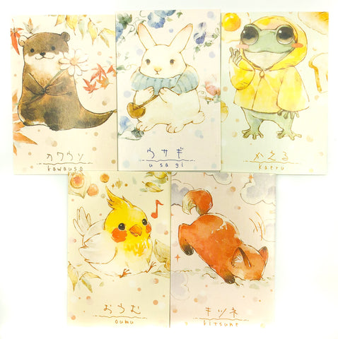 cute mini postcards lomo card animal animals kawaii stationery fox frog rabbit otter birds