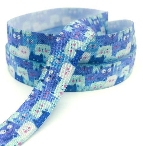 crowded cat cats kawaii cute elastic ribbon ribbons uk elastics stretch foe blue turquoise lilac 15mm craft supplies cat faces face