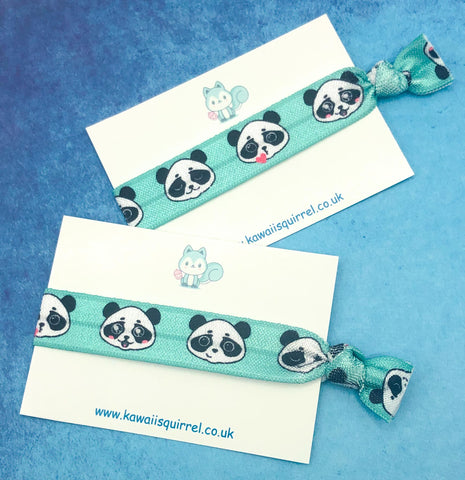 cute kawaii turquoise panda face faces hair ties tie elastic elastics bow bows accessories uk gift cute kawaii pandas