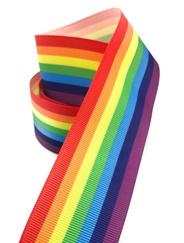wide 38mm rainbow striped grosgrain ribbon one yard uk cute kawaii ribbons stripes rainbows coloured