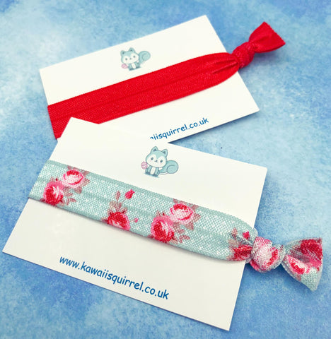 shabby chic pink and blue polka dot hair elastic elastics tie ties band bow bows hand made uk cute kawaii gift gifts red flowers