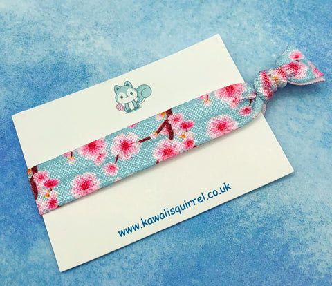 spring pink and blue cherry blossom blossoms floral flower hair elastic handmade elastics tie ties bands bow bows uk cute kawaii gift gifts flowers
