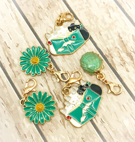 dark turquoise teal planner charm clip charms gold tone metal cat cats reading book cute kawaii flower daisy shell green uk planning accessory hand made clips