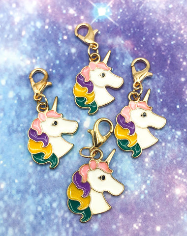 rainbow unicorn mane unicorns planner charm charms clips clip accessory uk kawaii cute planning gift gifts pink purple gold tone metal enamelled enamel