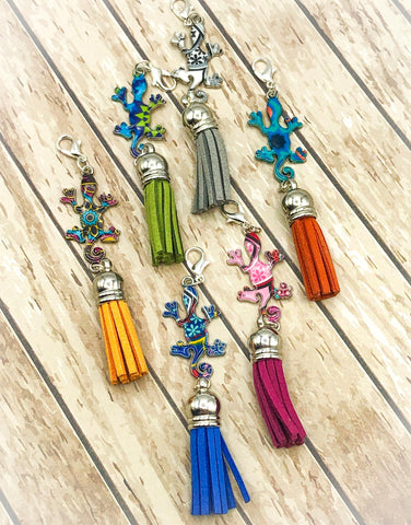 lizard tassel planner charm charms clip clips lizards cute gekko enamel silver tone metal planning accessories uk kawaii cute