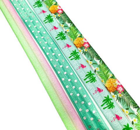 turquoise summer fold over elastic ribbon ribbons foe pineapple flamingo tropical palm silver foil polka dot uk craft supplies
