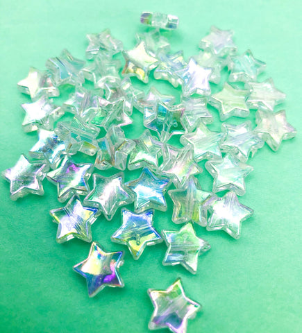 star clear ab iridescent acrylic bead beads bundle cute stars 11mm craft supplies uk