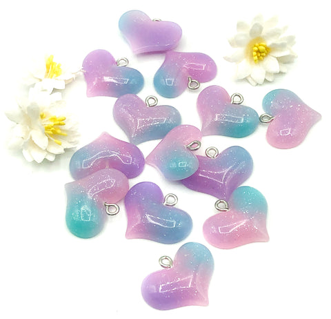 heart ombre resin glitter charm charms hearts 22mm