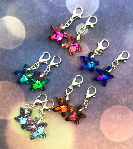 pretty glass star fish starfish planner clip charm charms uk cute kawaii planning stitch markers sparkly rainbow colours gift gifts silver tone metal