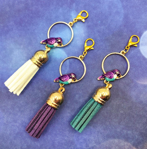 bird in gold golden hoop enamel planner charm charms tassel tassels large purple green turquoise cream uk cute kawaii gifts birds pretty accessories