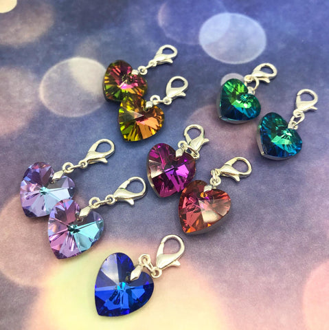 glass sparkly heart hearts planner charm charms clip clips stitch marker markers uk cute kawaii planning accessories silver tone metal pink blue green turquoise amber rainbow colours