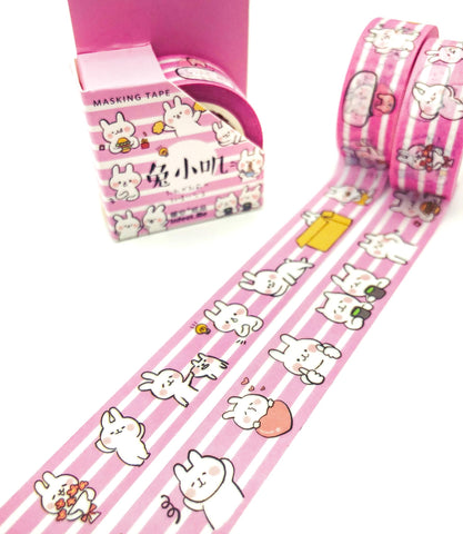 kawaii bunny bunnies rabbit rabbits pink  and white stripe striped washi tape tapes box boxed 7m cute uk stationery