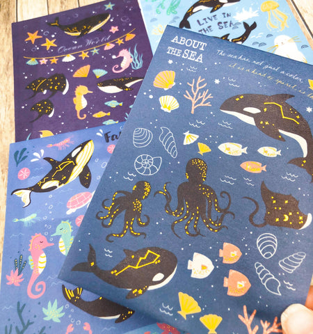 ocean theme gold foil foiled sticker pack of 4 sheets matte whale whales seal seals shell sea seahorse fish marine uk kawaii cute stationery
