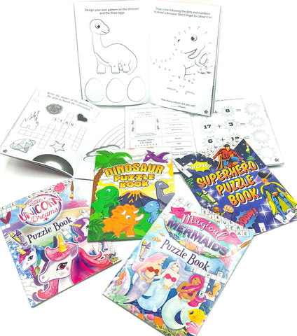 puzzle books for kids activities puzzles dinosaur mermaid unicorn and superhero uk stationery